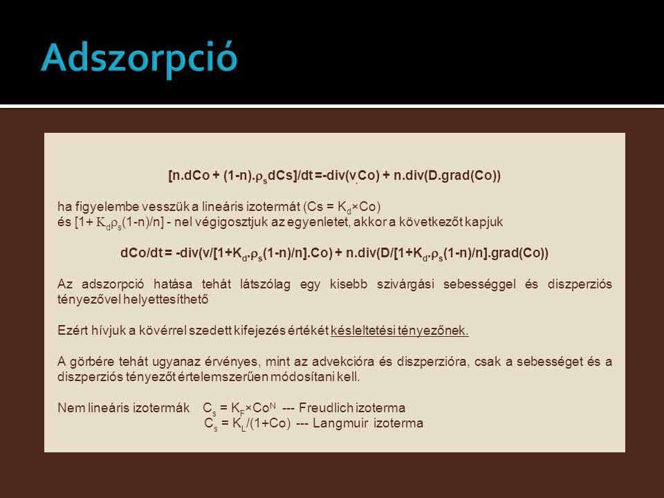 [n.dCo + (1-n).rsdCs]/dt =-div(v.Co) + n.div(D.grad(Co))